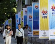Banners promoting this week's Asean Summit line the street in Hanoi, Vietnam. Regional leaders will meet virtually and focus on an agenda that includes the completion of the Regional Comprehensive Economic Partnership deal and the launch of the region's reserve stockpile of essential medical supplies.PHOTO: EPA-EFE